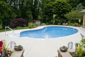 16' x 32' Non Diving Kidney Ideal for a backyard patio pool.